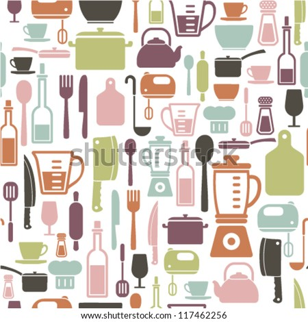 seamless pattern with colorful cooking icons - stock vector