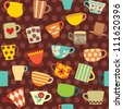 Seamless pattern with colorful cups on dotted background - stock vector