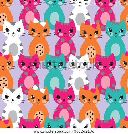 Seamless pattern with colorful cute cats for children vector illustration