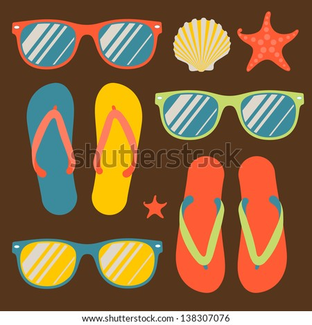 Seamless pattern with colorful flip flops and sunglasses, vector illustration. - stock vector