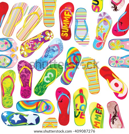 Seamless pattern with colorful flip flops./ Seamless pattern with Beach Sandals for design fabric,backgrounds, package, wrapping paper, covers, fashion.    - stock vector