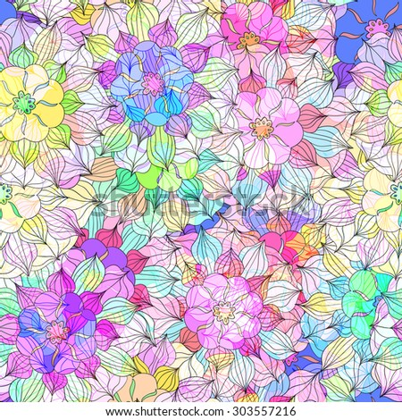 Seamless pattern with colorful Flower. Vector illustration 8 - stock vector