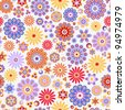 Seamless pattern with colorful flowers - stock photo