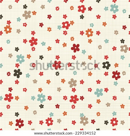 seamless pattern with colorful flowers on texture background - stock vector