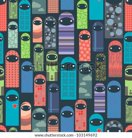 Seamless pattern with colorful ghosts. Vector background illustration. - stock vector