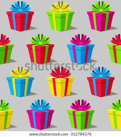 seamless pattern with colorful gift boxes on gray background - stock vector
