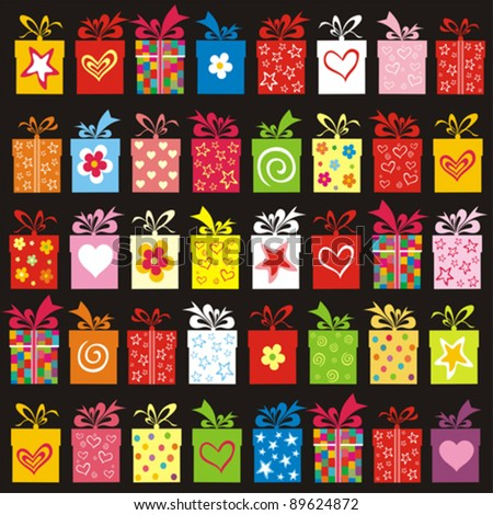 Seamless pattern with colorful  gift boxes. vector illustration - stock vector