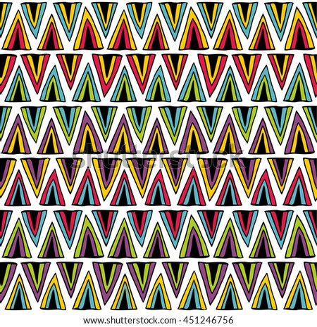 Seamless pattern with colorful hand drawn triangles. Vector background.