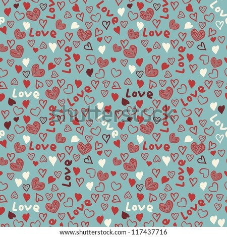 seamless pattern with colorful hearts - stock vector