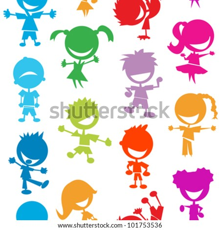 seamless pattern with colorful kids simple illustrations - stock vector