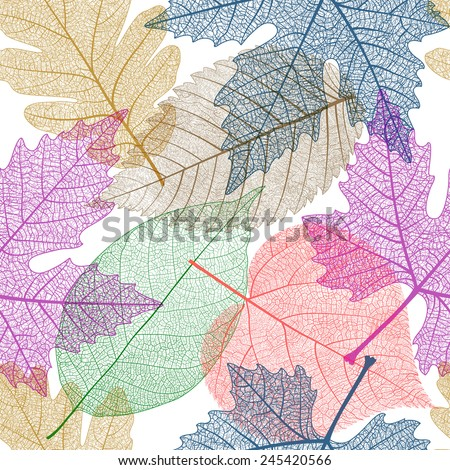 Seamless pattern with colorful  leaves. Vector, EPS 10.  - stock vector