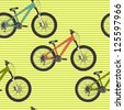 Seamless pattern with colorful mountain bicycles on striped background. Vector illustration. - stock vector