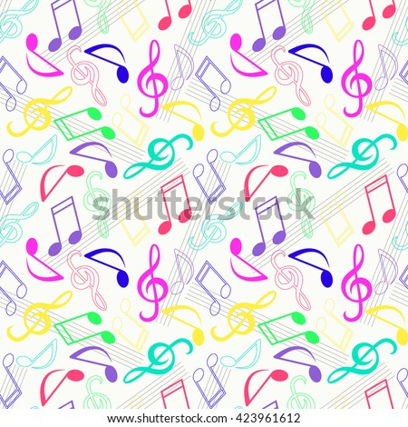 Seamless pattern with colorful music notes. Musical notes endless vector multicolor pattern - stock vector