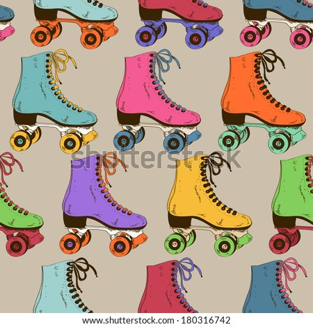 Seamless pattern with colorful retro roller skates  - stock vector