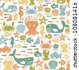 seamless pattern with colorful sea creatures - stock vector
