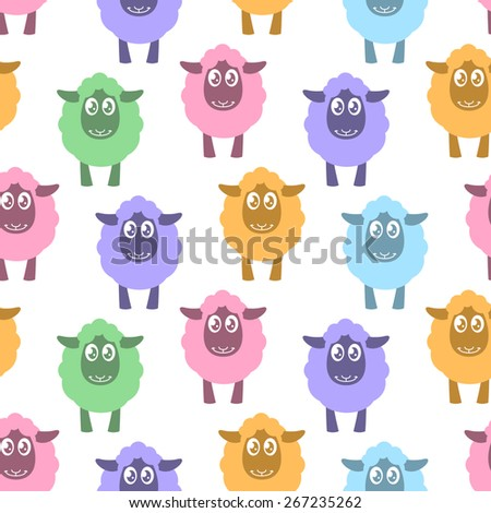 Seamless pattern with colorful sheep - stock vector