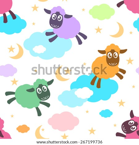 Seamless pattern with colorful sheep on the clouds - stock vector
