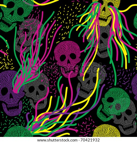 seamless pattern with colorful skull - stock vector