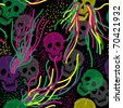 Seamless pattern with colorful skull. Vivid background with skull. - stock vector