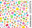 seamless pattern with colorful summer icons (JPEG available in my gallery) - stock vector
