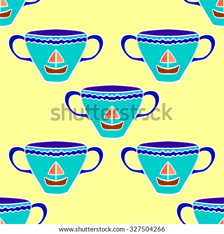 Seamless pattern with colorful tea cups. Vector illustrations. - stock vector