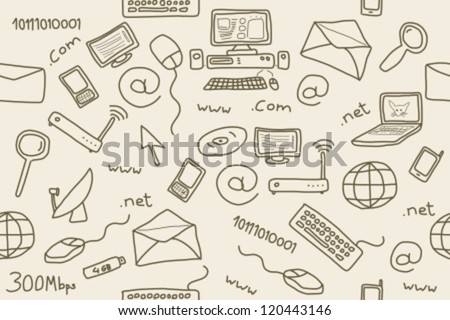 Seamless pattern with computer, internet and networking icons and symbols. Internet background doodle.