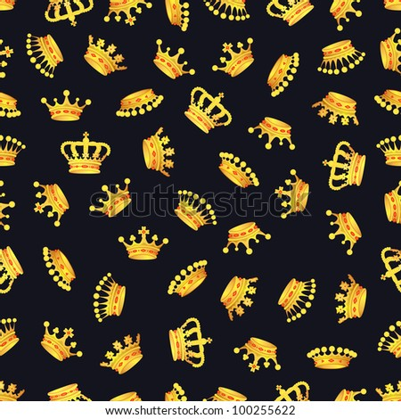 Seamless pattern with crown symbol on black, 10eps. - stock vector