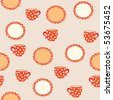 Seamless pattern with cup and plates with polka dots - stock vector