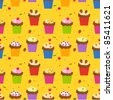 Seamless pattern with cupcakes - stock vector