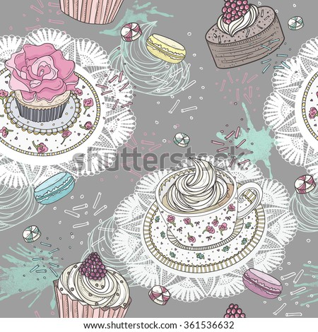 Seamless pattern with cupcakes, tea and macaroons. Cute background with sweets. - stock vector