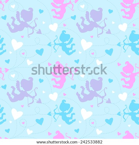 Seamless pattern with cupids. - stock vector
