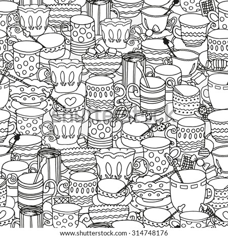 Seamless pattern with cups and mugs. Doodle, pattern, coffee or tea time, cupcake, cups, candy, lollipops.  Ethnic, floral, retro, doodle, vector, tribal design element. Black and white.  - stock vector