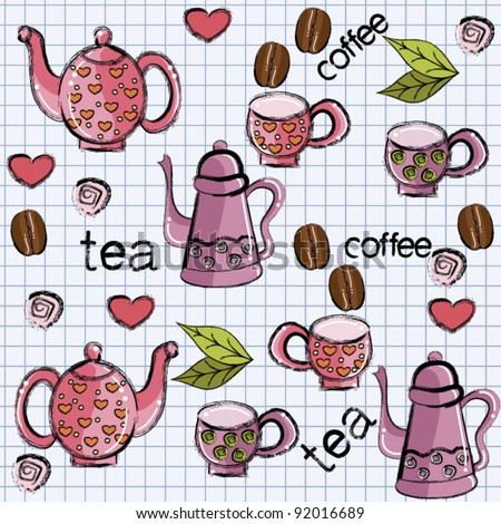 Seamless pattern with cups, teapot, coffee and tea - stock vector