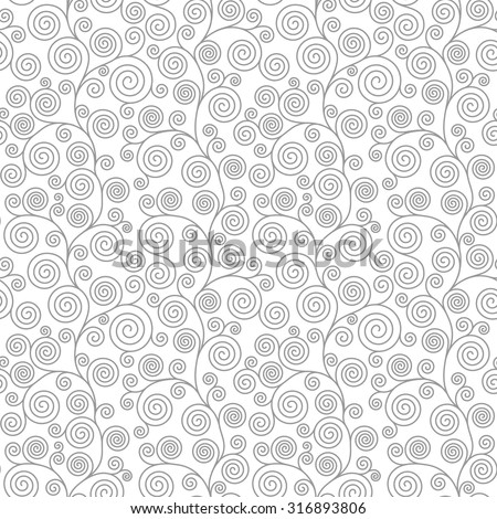 Seamless pattern with curvy spiral flourishes. Vector seamless background.  Linear pattern. - stock vector