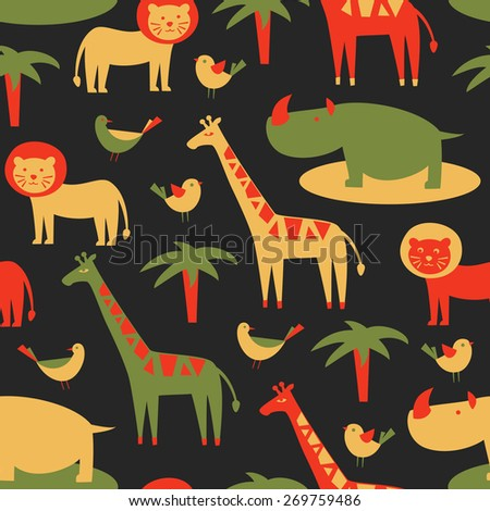 Seamless pattern with cute african animals. Vector illustration.  - stock vector