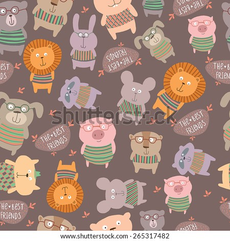 Seamless pattern with cute animals.Bright childish background. - stock vector