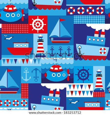 seamless pattern with cute baby's sea transport