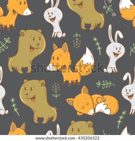 Seamless pattern with cute cartoon bears, foxes, hares and plants. Funny forest animals. Children's illustration. Vector image.