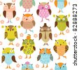 seamless pattern with cute cartoon birds - stock vector