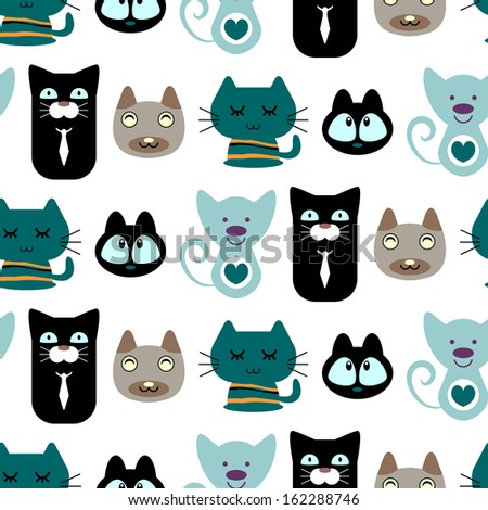 Seamless pattern with cute cartoon cats - stock vector