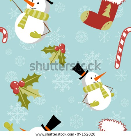 Seamless pattern with cute cartoon Christmas snowman, candy cane, holly berries and red stocking with xmas tree - stock vector