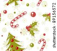 Seamless pattern with cute cartoon Christmas tree with balls, candy cane, holly berries - stock vector