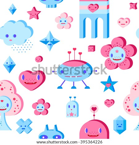 Seamless pattern with cute cartoon cloud, scull, flower, heart, robots, tree and small characters. Pink, light pink, blue, light blue, sky blue, vinous, white background. - stock vector