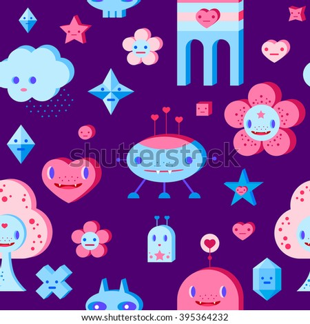 Seamless pattern with cute cartoon cloud, scull, flower, heart, robots, tree and small characters. Pink, light pink, blue, light blue, sky blue, vinous, dark violet background. - stock vector