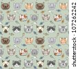 Seamless pattern with cute cats #1 - stock vector