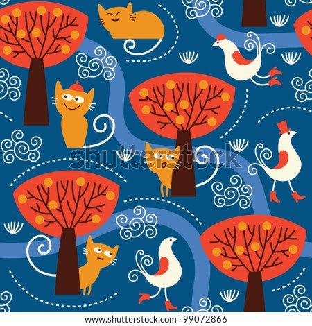 seamless pattern with cute cats and birds - stock vector