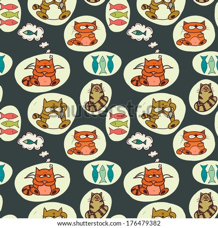 Seamless pattern with cute colorful cartoon cats and fish. Hand drawn animal background. - stock vector