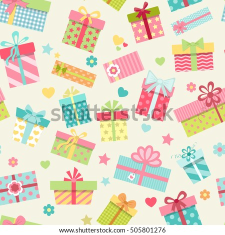 Seamless pattern with cute colorful gift boxes. Wrapping paper design. Vector illustration