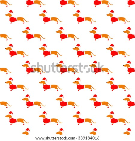 Seamless pattern with cute dachshund in Christmas suit situated in staggered rows on white background. Flat style illustration - stock vector