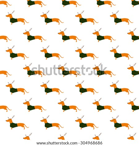 Seamless pattern with cute dachshund wearing Christmas suit, greed jersey decorated with red stripes and brown reindeer horns arranged in staggered rows and isolated on white background - stock vector
